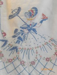 Vtg Southern Belle w~Butterfly Dresser / Table Runner~Pastel~Hand. Embroidered