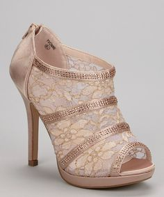 Look at this Lauren Lorraine Nude Sheer Lace Yvonne Bootie on #zulily today!