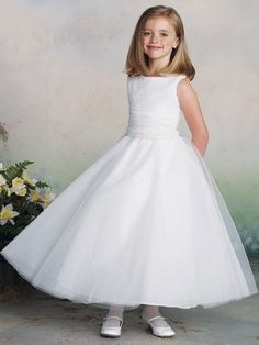 605b8aea788 Joan Calabrese White Ruched Bodice Tulle Dress. Flower GirlsCheap ...