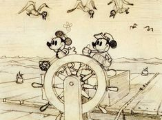 """This seems to be a storyboard panel from """"Steamboat Willie"""" the first Micky Mouse sound short film...  It was the first cartoon to feature a fully post-produced soundtrack which distinguished it from earlier sound cartoons..."""