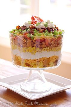 LAYERED CORNBREAD SALAD I have a similar recipe that I used to use for my PC shows to demo the Trifle Bowl.and take this often to potluck events. It's delicious! Trifle Bowl Recipes, Trifle Recipe, Salad Recipes, Trifle Dish, Summer Recipes, Great Recipes, Favorite Recipes, Layered Cornbread Salad, Fingers Food