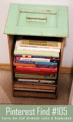 Turn old drawers into bookcases with this idea!