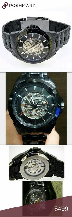 NWT Bulova Black Automatic Skeleton watch BULOVA MENS BLACK AUTOMATIC SKELETAL DIAL BLACK ION BAND STAINLESS  FIRM PRICE $499.00 . AUTHENTIC WATCH . AUTHENTIC BOX . AUTHENTIC MANUAL  SHIPPING PLEASE ALLOW FEW BUSINESS DAYS FOR ME TO SHIPPED IT OFF.I HAVE TO GET IT FROM MY WAREHOUSE  THANK YOU FOR YOUR UNDERSTANDING? Bulova Accessories Watches