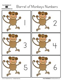 For Apes v. Monkeys Lesson Series, Math. Have kids place the correct number of beans on the monkey. Barrel of Monkeys Numbers 0 to 31 | A to Z Teacher Stuff Printable Pages and Worksheets