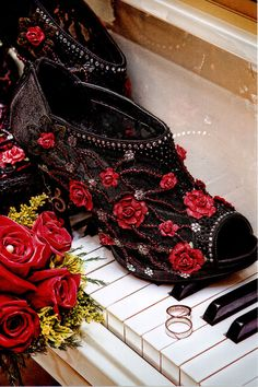 The Goth Rose Bridal or Evening Heel