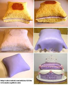 Pillow cake how to. Cake Decorating Techniques, Cake Decorating Tutorials, Cookie Decorating, Beautiful Cakes, Amazing Cakes, Fondant Cakes, Cupcake Cakes, Pillow Cakes, Cake Shapes