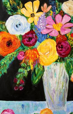 Large Bold Floral Still LIfe Flowers in Vase GICLEE PRINT