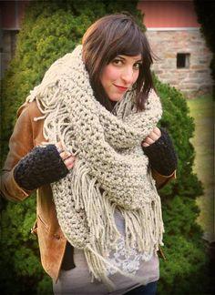 Oversized Triangle Crochet Scarf byjanellehaskin. Looks so cozy!