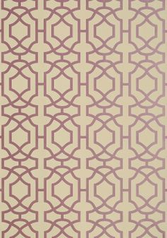 Alston Trellis #wallpaper in Metallic Plum on Beige from the #Monterey Collection by #Thibaut