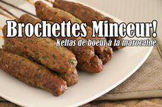 Brochettes minceur : Les keftas de boeuf à la marocaine Shish Kebab, Baked Potato, Sausage, Potatoes, Baking, Ethnic Recipes, Food, Barbecue, Dinners