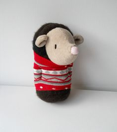hedgehog sock animal plush animal plushie by TreacherCreatures, $20.00
