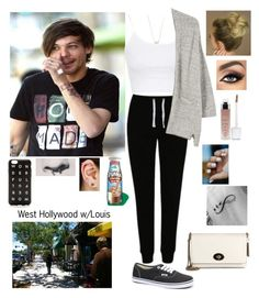 """""""West Hollywood w/Louis"""" by tiffany-london-1 ❤ liked on Polyvore featuring Topshop, George, MANGO, Vans, tarte, Coach, J.Crew, Pinkrocket and Kendra Scott"""