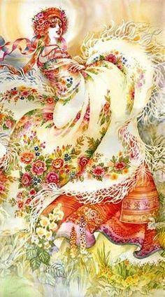 Ukrainian Scarf, painting by Starovoitova,  from Iryna with love