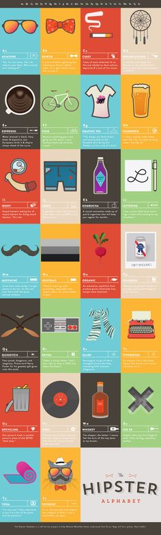 Unique Web Design, The Hipster Alphabet via @lingyeung #Web #Design #Flat #Hipster