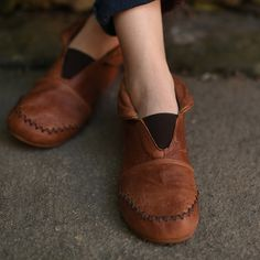 New Handmade Brown ShoesAnkle BootsFlat Shoes Retro by HerHis