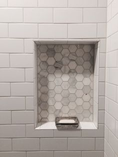 Inset for soap/supplies using a contrasting tile Farmhouse Bathroom Mirrors, White Bathroom Tiles, Upstairs Bathrooms, Bathroom Floor Tiles, Downstairs Bathroom, Farmhouse Sinks, Beveled Subway Tile, White Subway Tiles, Hex Tile