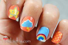 Uñas decoradas con arcoiris, nube y estrellas // Osos Amorosos ...