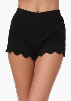 Scallop Trim Shorts in Black - dressy yet super comfy!