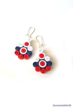 White Red and Blue Quilled Paper Earrings Dangle by GermanistikArt, #quilling