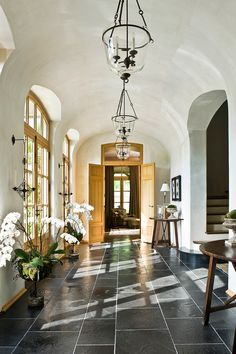 How to light a room - Entryway from Barbara Westbrook's Gracious Homes