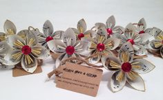 Upcycled Sheet Music Flower Ornaments  A by alwaysgiveascrap