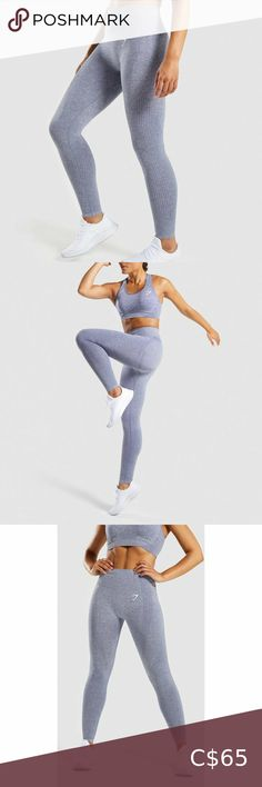 Gymshark | Vital Seamless Steel Blue Marl NWOT Train, sweat and perform in the Vital Seamless Leggings. Combining a high-waisted fit, sweat-wicking fabric and seamless contours, they're constructed to ensure confidence and support for a workout, with additional style for good measure. - High waisted fit - Supportive ribbed waistband - Seamless shading contouring patterns - Sweat-wicking fabric - 58% Nylon, 32% Polyester, 10% Elastane - Label Colour: Steel Blue Marl Size Large New without… Ombre Leggings, Camo Leggings, Gymshark Flex Leggings, Zara Shorts, Kitten Heel Pumps, Seamless Leggings, Workout Leggings, Colorful Leggings, Plus Fashion