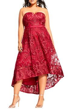Looking for City Chic Embroidered Attraction High/Low Cocktail Dress (Plus Size) ? Check out our picks for the City Chic Embroidered Attraction High/Low Cocktail Dress (Plus Size) from the popular stores - all in one. High Low Cocktail Dress, Plus Size Cocktail Dresses, Plus Size Prom, Dress Plus Size, City Chic, Lace Sheath Dress, Strapless Dress, Nordstrom, Gowns With Sleeves
