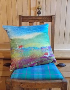 Cushion Digitally Printed with Felt by AileenClarkeCrafts on Etsy (Home & Living, Home Décor, Decorative Pillows, cushion, printed cushion, pillow, throw cushion, throw pillow, art pillow, art cushion, cottage cushion, Scottish cushion, sheep cushion, sheep pillow, rocking chair, rockingchair pillow)