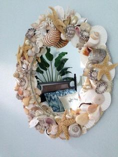 Gorgeous Artist Handcrafted Coastal Seashell Mirror Featuring Tiger Nautilus Birds Nest Coral and Starfish Sea Glass Crafts, Sea Crafts, Crafts To Do, Arts And Crafts, Seashell Art, Seashell Crafts, Seashell Wreath, Seashell Painting, Starfish