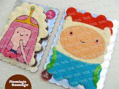 Adventure Time cupcake cake / Pastel formado con cupcakes Hora de Aventura, Finn y Princess Bubblegum