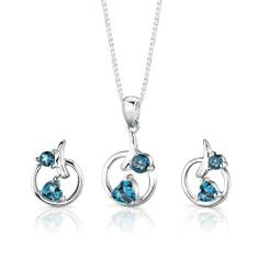 Sterling Silver Rhodium Finish 1.50 carats total weight Multishape London Blue Topaz Pendant Earrings and 18 inch Necklace Set . $49.99