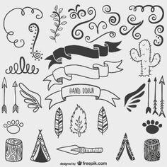 Dibujos caligráficos de la naturaleza