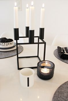 Black and white / Design Letters / By Lassen Kubus / Iittala / Marimekko / Table setting BRONZE Design Letters, Lettering Design, Candels, Candle Lanterns, Interior Garden, Interior And Exterior, Black And White Love, Koti, Interior Decorating