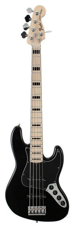Fender American Deluxe Jazz V Electric Bass Guitar Black | Rainbow Guitars