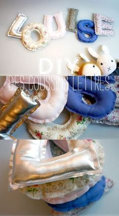 DIY coussins lettres // letter cushions by Lait Fraise Mag Great way to teach the alphabet maybe? Fabric Crafts, Sewing Crafts, Sewing Projects, Craft Projects, Sewing For Kids, Diy For Kids, Lingerie Shower, Letter Cushion, Diy Bebe