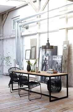 industrial table and chairs