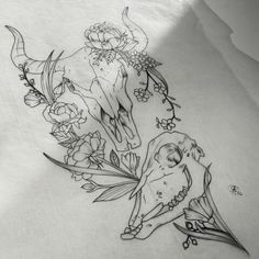 Sketch for tattoo cow and bull skulls