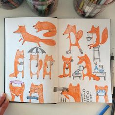 More fox #illustration #colorpencil #prismacolor #fox #doodle #sketchbook #drawing by hee_cookingdiary