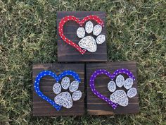 Mini Dog Paw Heart The board shown in the example is approximately 5x5 stained in Espresso. *Mini designs can always be made on larger boards as well!* Stain options are shown in the last picture, just be sure to include the color or stain you would like in the note to seller. We use