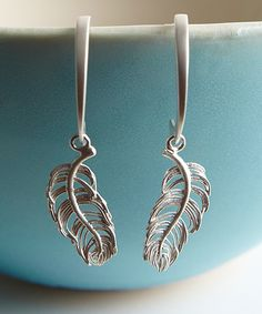 Sterling Silver Feather Drop Earrings | zulily  #streetstyle