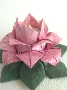 One Origami Lotus Lantern Pink Batik Paper Cake Topper Wedding Lights Decorations