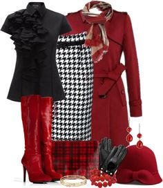 """Deep Red with Black and Houndstooth"" by skpg on LOVE! Classic Work Outfits, Classy Outfits, Chic Outfits, Pretty Outfits, Beautiful Outfits, Fashion Outfits, Hijab Fashion, Diy Fashion, Fashion Tips"