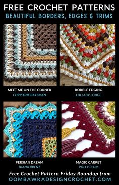 Are you looking for an edging for your project? Here are 20 unique crochet edgings that will take your finished afghan from lovely to sensational! Crochet Border Patterns, Crochet Blanket Edging, Vintage Crochet Patterns, Crochet Lace Edging, Crochet Edgings, Afghan Patterns, Crochet Poncho, Crochet Stitches, All Free Crochet