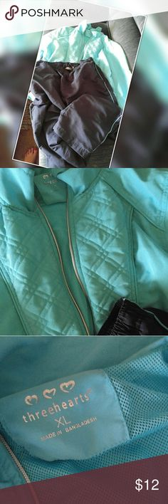 Jogging outfit. Threehearts XL Blue jacket with pockets zips in front with black pants witth the blur pinstripe to match jacket. Excellant condition. Threehearts Pants Track Pants & Joggers