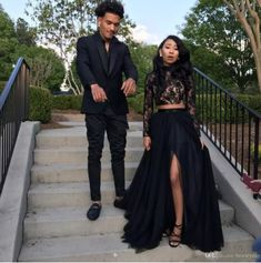 Prom Dresses 2018 Formal Evening Party Pageant Gowns African Two Pieces Long Sleeve High Neck Dubai Arbic Cheap Black Girl Couple Day After Prom Dresses, Black Girl Prom Dresses, Prom Dresses Under 100, Prom Dresses Two Piece, Prom Dresses Long With Sleeves, Black Evening Dresses, Beautiful Prom Dresses, Two Piece Dress, Evening Gowns