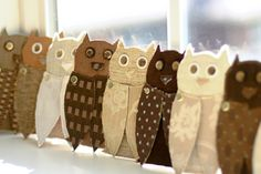 DIY Up-cycle Owl Craft - Paper board, scraps of fabric, embellishment and fasteners combine to make fabulous owl crafts. Makes great invitations for Autumn, or Halloween themed event.