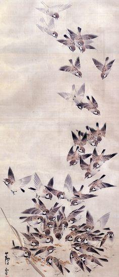 Swallows. 長沢芦雪 Rosetsu Nagasawa. Japanese hanging scroll