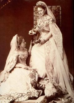 "Grand Duchess Elizabeth and Lady in waiting, Yekaterina Kozlianinova. This photo was taken as a farewell gift when ""Kitty"" was leaving her service."
