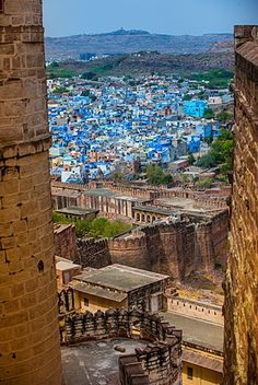 Photographic Print: The View from Mehrangarh Fort of the Blue Rooftops in Jodhpur, the Blue City, Rajasthan by Laura Grier : India Asia, Rajasthan India, Jodhpur, Blue City, Grand Mosque, India Travel, Incredible India, Places To See, City Photo