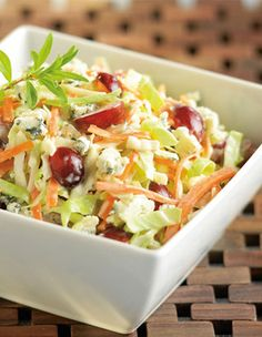 Bleu Cheese Cole Slaw - made a version of this with cabbage, turkey bacon, green onion, tomato and bleu cheese dressing yum!